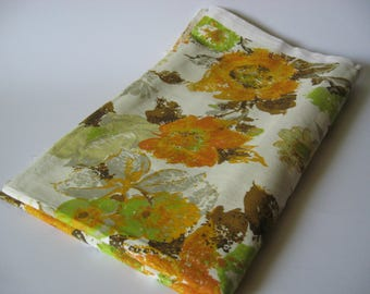 HERO I.C. retro floral  vintage cotton sateen large scale upholstery orange gold green on creamy yellow