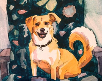 Custom Water Color Pet Portrait