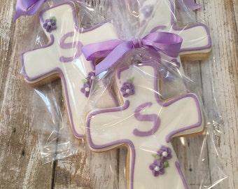 Personalized Communion, Baptism Cross Cookie Favors, Lavender Religious Favors - 1 dozen