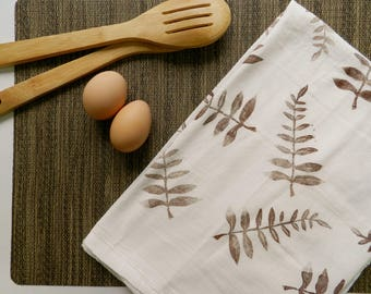 Extra Large Flour Sack Dishcloth. Botanical Print. Natural Decor. Towel. Boho Style. Hostess Gift.  Kitchen Towels. Boho Home. Plants. Ferns