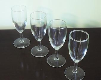 Small Wine Glasses, Clear Cordial Glasses, Wine Tasting Glasses, Barware, Teardrop Stemmed Glass, Sherry Glass, Set of 4 Mini Wine Glasses