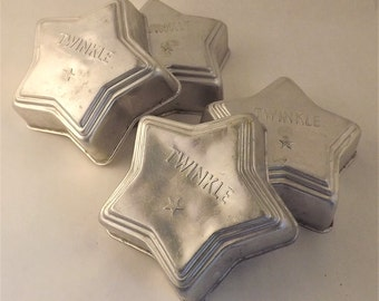 Metal Star Mold, Star Shape Baking Tin, Set of 4 Star Jello Mold, Twinkle Vintage Small Metal Mold, Soap Chocolate Cake Candy Pastry Mold