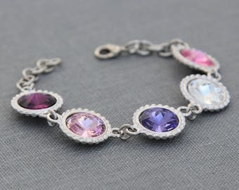 Mother's Day Gift for Wife, Family Birthstone Jewelry, Mom Gift, Custom Birthstone Mother's Bracelet, Grandmother's Bracelet