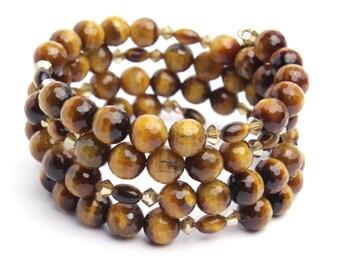 Genuine Faceted Tigers Eye Wrap Bracelet with Swarovski Crystals Memory Wire Bracelet, Cuff Bracelet, gift for her.