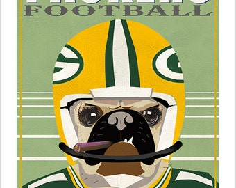 Green Bay Packers Pug Dog Football Player - Super Bowl Champions - Titletown - Green Bay Wisconsin - Tan Pug or Black Pug
