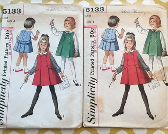RARE 1960S Simplicity Sewing Pattern 5133 Girls Jumper Dress & Blouse Size 2 Or 4 cut-Girls Pattern, girls jumper dress pattern, 1960s dress