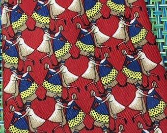 Vintage Come Closer Red and Blue Silk Mens Tessellations Necktie with Dancers - novelty necktie, red and blue necktie, dancers gift