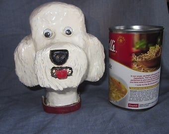 Vintage Folk Art Dog Hand carved wooden white poodle Original art 1950s
