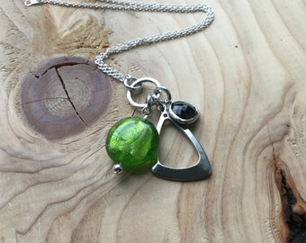Green, Silver, Black Necklace- Glass and Metal Necklace- Cluster Drops- ONLY 1 AVAILABLE