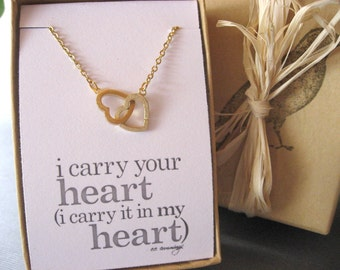 Dainty Interlocking Heart Necklace, Silver or Gold Heart Necklace, Valentines Day Gift, Anniversary Gift, Daughter Gift