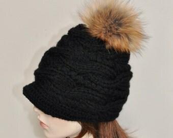 Pompom Beanie Visor Cap Brim Hat Pompom Beanie Hat Fur Pompom Hat Newsboy Hat CHOOSE COLOR Black Ski Women Hat Christmas Gift under 100