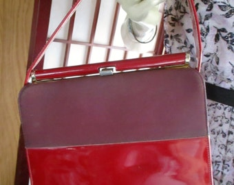 1960's Red  faux Patent Leather Purse/ Hand bag