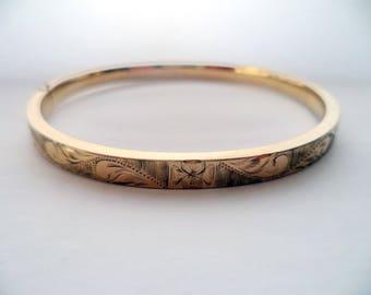 Vintage 12K Gold Filled Hinged Bangle Bracelet Signed A & Z 1/20 12K Forget Not Flower Etched Front Side