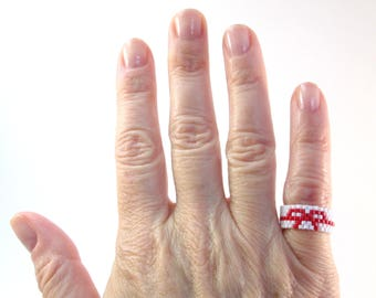 Red String of Fate Pinky Ring, Seed Bead Ring, Soulmate Jewelry, Couples Gift Set, Nerdy Ring, Peyote Beaded Ring For Girlfriend