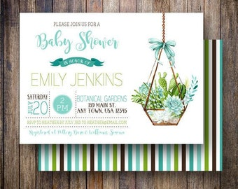 Succulent Baby Shower Invitation, Baby Girl, Watercolor Succulent Baby Shower Invite, Printable Baby Shower Invite in Teal, Blue & Green