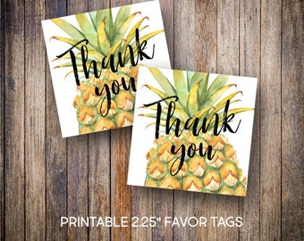 """Pineapple Favor Tags, 2.25"""" Square Tags, Thank You Tag, Birthday Tags, Gift Tags, Watercolor, Digital Download, Printable Tags, 600"""