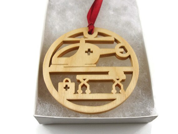 Medical Themed Christmas Ornaments : Flight nurse ems helicopter christmas ornament handmade from