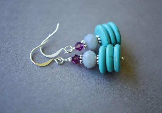 Howlite Earrings, Teal Earrings, Swarovski Earrings, Purple Earrings, Silver Plated Earrings, Saucer Earrings