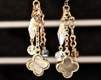 Boho Vintage Earring Statement Assemblage, Silver Pierced Bronze Antique Smoke Crystal Cube, Long Dramatic, Reclaimed, Jennifer Jones, OOAK