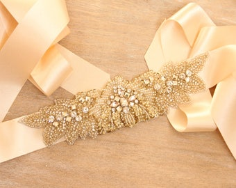 Gold and champagne bridal sash, champagne ribbon sash, gold rhinestone sash, wedding sash - *Cosmic*