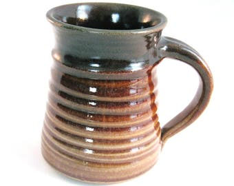 Brown Stein - 16 oz. - Renaissance Stein - Tankard - Coffee Mug - Handmade Pottery - Pottersong - Brown and Tan - Oatmeal Tan
