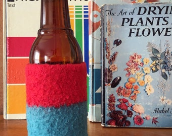 Felted Bottle Cozy - Color Block Collection - Red & Turquoise