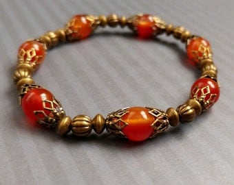 Red Agate Orange Gemstone Bracelet With Antiqued Gold-Plated Brass Accents