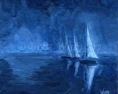 Midnight Sail Print, Printable Art, sailboat Art, Home Decor, Nautical, Watercolor, Wall decor, Instant Download