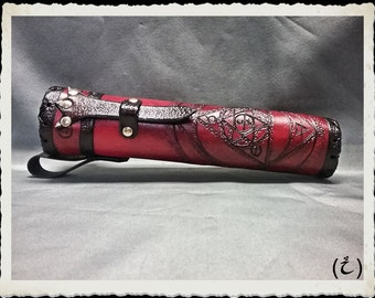 Red Leather Scroll Case / Holster / Tube - Alchemist