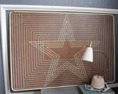 Large Vintage Sears Maid of Honor Doily Stretcher Mid Century Sewing Cowboys Star Pin Board Display Tack Holes Blue Brown White Wall Art