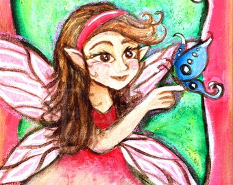 Fairy with Butterfly Giclee Art Print