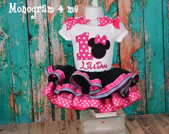 Minnie Mouse Birthday Tutu outfit, Hot pink 1st Birthday Minnie outfit