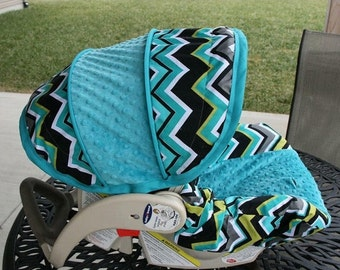 Only 1 Left - Chevron baby car seat cover, baby boy car seat cover, baby canopy cover, Infant car seat cover set - Made to order