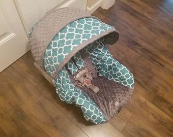 Baby seat cover, Teal Quatrefoil with gray minky infant car seat cover, by Baby Seat Covers By Jill