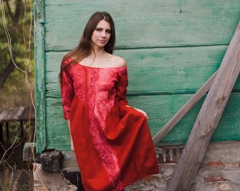 Sale Felted red dress, fall autumn fashion, party clothing, red terracotta dress, custom size christmas xmas holiday