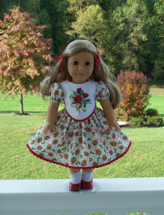 Embroidered christmas dress doll clothes for 18 quot american girl dolls