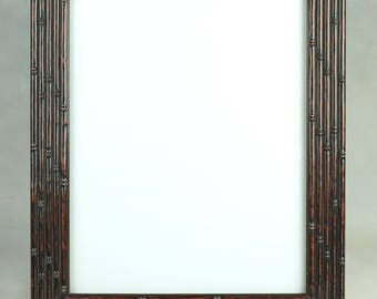 Vintage Faux Table Top or Wall Hanging BAMBOO PICTURE FRAME, circa 1988 - 1990