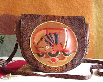 AFRICAN QUEEN Vintage 80s Purse | 1980's Snakeskin and Leather Applique Shoulder Bag by M Sin | African Inspired Crossbody, Afrocentric