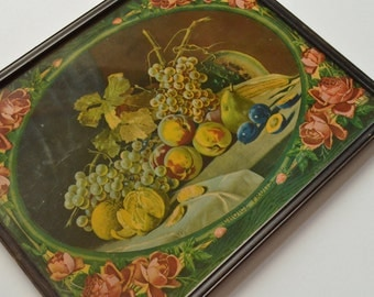 Vintage Fruit Advertising Picture Cottage Chic Roses 1930s 1940s