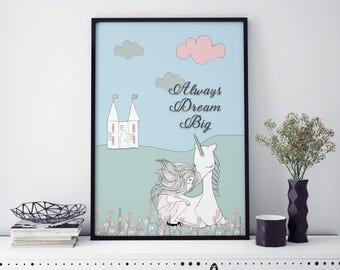 Unicorn Print | Unicorn wall art | home decor | girl's wall print | Always Dream Big Print | Kids room decor