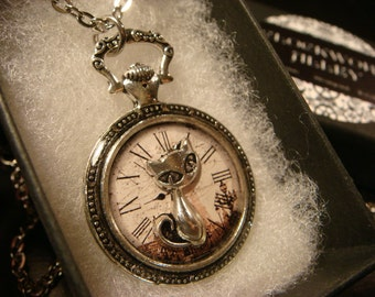 Cat over Clock Image- Pocket Watch Style Pendant Necklace (2288)
