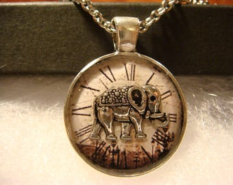 Small Silver Elephant over Clock Pendant Necklace (2406)