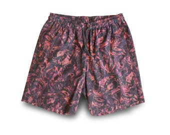 Mens Festival Shorts, Batik Mens Shorts, Boho Festivalwear, Mens Pull-on Shorts, Batik Elastic Waist Shorts