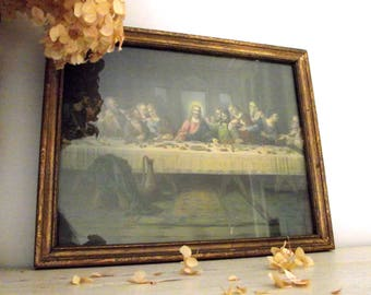 The Lord's Supper by Brunozetti Litho Print , Framed Lithograph , The Last Supper Art Print , Religious Decor , Easter , Vintage Home Decor