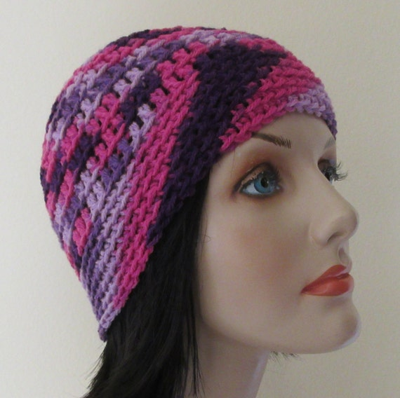 Reserved for Trish - Pink and Purple Beanie, Crochet Beanie, Pink Purple Crochet Beanie, Pink Purple Hat, Pink Snow Hat, Purple Snow Hat