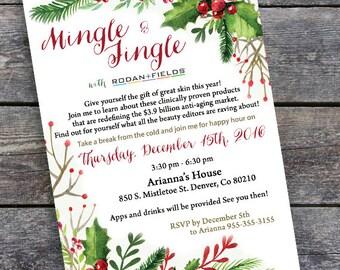 Business Invitation - Printable Holiday Invitation - New Year - Mistletoe Pattern  - Digital File