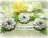 Pink Green and White Paper Flowers and Paper Embellishments for Scrapbook Layouts Cards Tags Mini Albums Altered Art and Paper Crafts