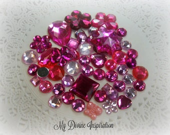 50 Flat Back Mixed Pink and Hot Pink Rhinestones Acrylic Gem Blings for Scrapbooking Cards Mini Albums and Papercrafts Jewelry DIY