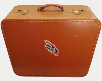 Vintage leather suitcase brown Belber Neolite luggage 1940's