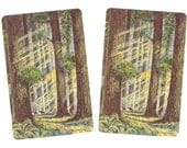California BIG TREES (2) Vintage Single Swap Playing Cards Paper Ephemera Scrapbook